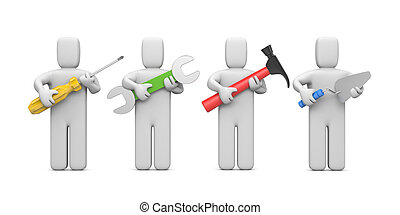 af)knippen, tools., werkmannen , bevatten, steegjes, beeld