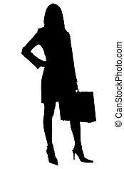 af)knippen, vrouw, silhouette, aktentas, zakelijk, steegjes