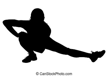 af)knippen, vrouw, silhouette, stretching, steegjes, benen