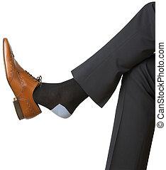 af)knippen, zijn, vrijstaand, mannen, schoen, voet, steegjes, witte , spelend