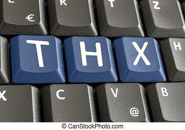 afkorting, thx, op, computer toetsenbord