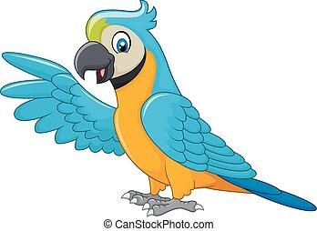 aflægger, macaw, isoleret, cartoon