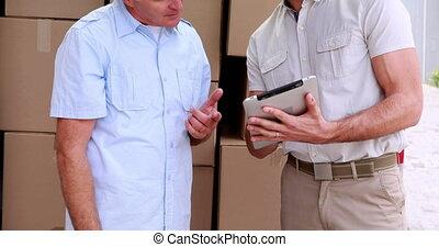 aflevering, bestuurder, gebruik, tablet