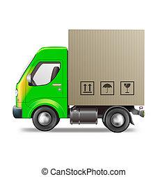 aflevering, bewegende vrachtwagen, of, leeg