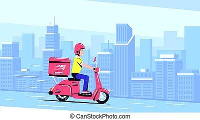 aflevering, kerel, scooter