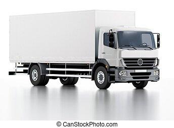 aflevering, lading, commercieel, vrachtwagen, /