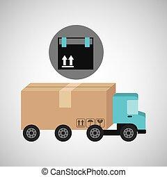 aflevering, lading, concept, vrachtwagen, verpakken