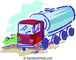 aflevering, lading, vector, vrachtwagen, /
