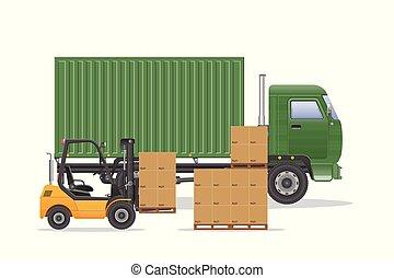 aflevering, lading, vector, vrachtwagen, illustration.