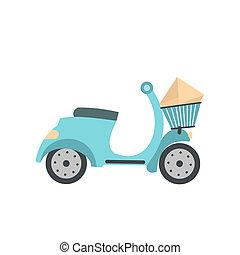 aflevering, plat, scooter, pictogram