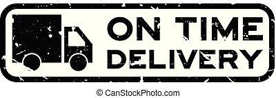 aflevering, plein, grunge, postzegel, woord, tijd, rubber, vrachtwagen, achtergrond, zeehondje, black , witte , pictogram