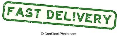 aflevering, plein, woord, postzegel, vasten, rubber, groene achtergrond, zeehondje, grunge, witte