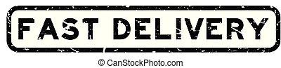 aflevering, plein, woord, postzegel, vasten, rubber, zwarte achtergrond, zeehondje, grunge, witte