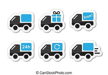 aflevering, vector, auto, expeditie, iconen