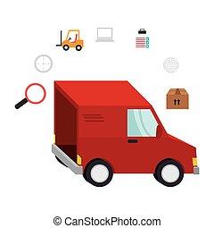 aflevering, vracht vrachtwagen