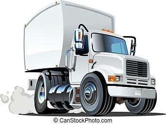 aflevering, vracht vrachtwagen, spotprent