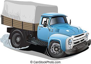 aflevering, vracht vrachtwagen, spotprent, /