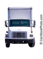 aflevering, witte , vrachtwagen, vrijstaand