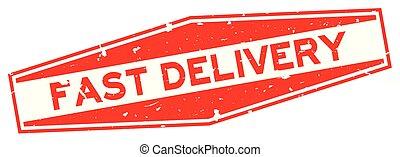 aflevering, woord, postzegel, vasten, rubber, achtergrond, zeehondje, grunge, witte , zeshoek, rood