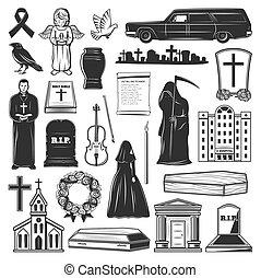 aflição, mortos, ícones, símbolos, cemitério, funeral