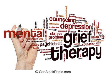 aflição, terapia, palavra, nuvem