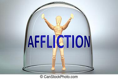 aflicción, describir, -, figura, aflicción, separado, lata, mundo, frase, ilustración, límites, cerradura, vidrio, 3d, cerrar con llave, persona, aislamiento, humano, dentro