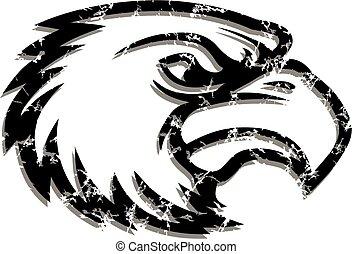 afligido, águila, cabeza