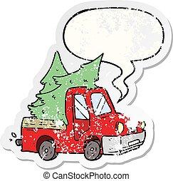 afligido, adesivo, árvores, caricatura, pickup, carregar, caminhão, borbulho fala, natal