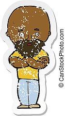 afligido, adesivo, calvo, chocado, retro, homem, caricatura, barba