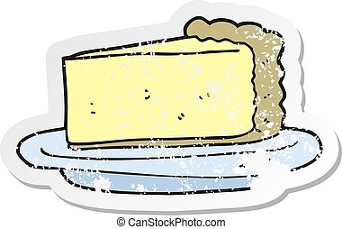 afligido, bolo queijo, adesivo, retro, caricatura