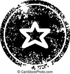 afligido, forma, estrela, ícone