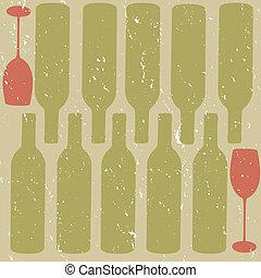 afligido, fundo, vinho