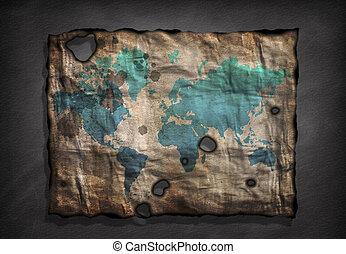 afligido, mapa, papel, mundo velho