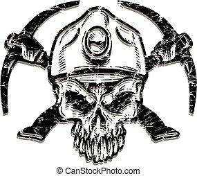 afligido, mineiro carvão, cranio