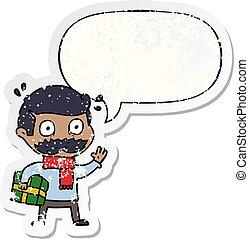 afligido, pegatina, navidad, discurso, presente, burbuja,...