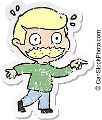 afligido, pegatina, sorprendido, caricatura, bigote, hombre