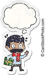 afligido, pegatina, usado, navidad, pensamiento, bigote,...