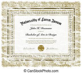 afligido, vector, diploma
