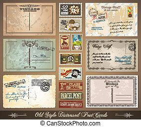 afligido, vendimia, estilo, viejo, postales