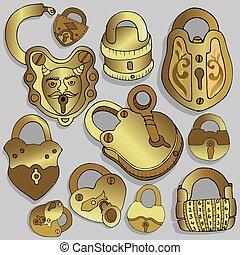 aflukket, padlock., vinhøst, åbn, eller, locks., mystery., hemmelighed