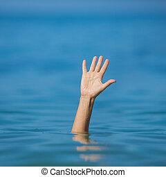 afogamento, ajuda, mão, pedir, mar, homem