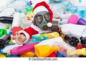 afogamento, garrafas, -, plástico, santa, tóxico, natal