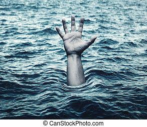 afogamento, homem, mar, mão