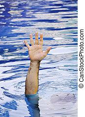 afogamento, mão, homem