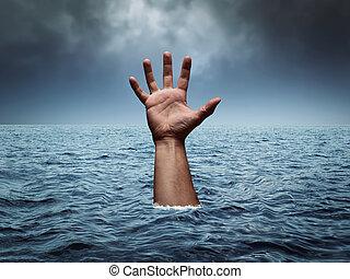 afogamento, Tempestuoso, mar, mão