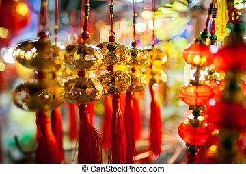 afortunado, asia, decoración, lunar, año, nuevo, linterna