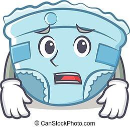 Afraid baby diaper character cartoon
