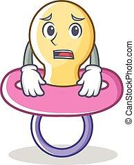 Afraid baby pacifier character cartoon