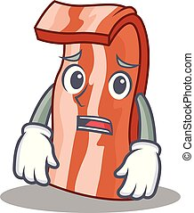 Afraid bacon mascot cartoon style vector illustration