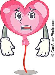 Afraid ballon heart mascot cartoon